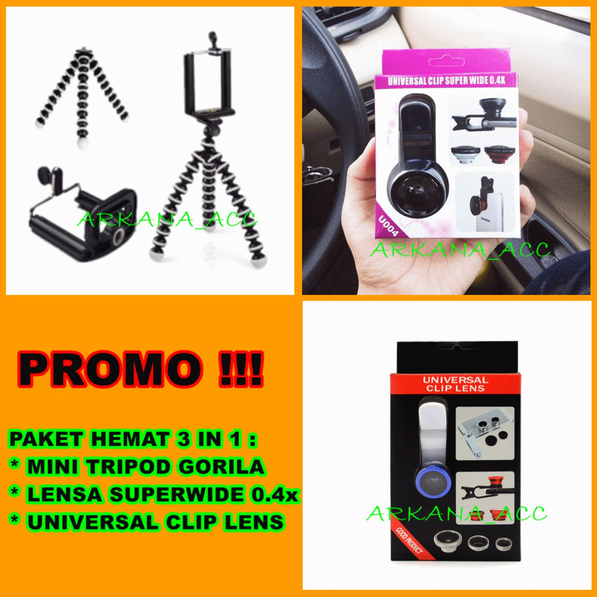 Universal Mini Tripod Gorila Untuk Hp & Kamera[ Paket Murah + Lensa Super Wide + Lensa Fish Eye 3in1 ]